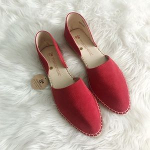 Macarena NWT Red Leather Espadrille Mules